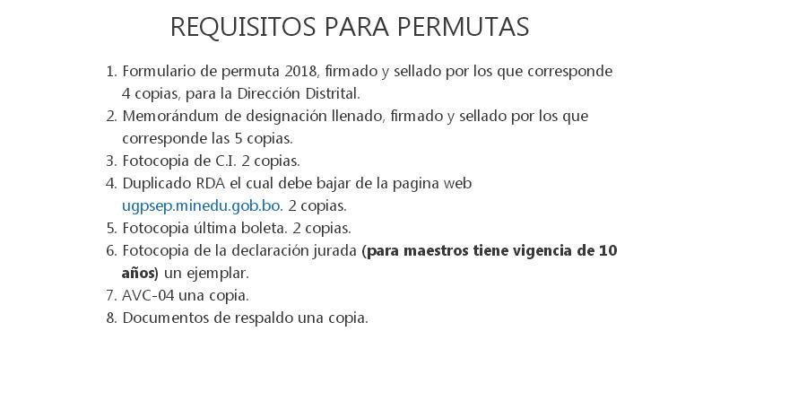 PERMUTA 2018 LA PAZ