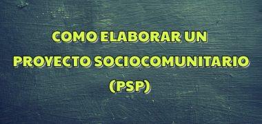 ELABORACIÓN DEL PROYECTO SOCIOPRODUCTIVO (PSP)