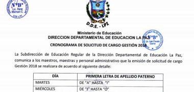 SOLICITUD DE CARGO 2018