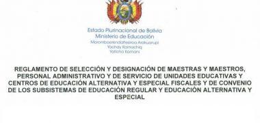 REGLAMENTO DE SELECCIÓN Y DESIGNACIÓN DE MAESTRAS Y MAESTROS 2018