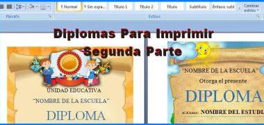 Hermosos Modelos de Diplomas Para Imprimir Segunda Parte