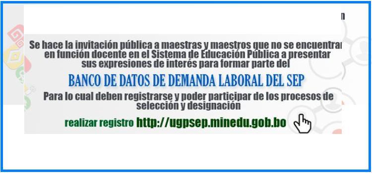 REGISTRO EN EL BANCO DE DATOS PARA DESIGNACION
