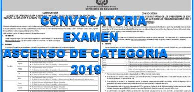 CONVOCATORIA, PARA EL EXAMEN DE ASCENSO DE CATEGORÍA【2019】