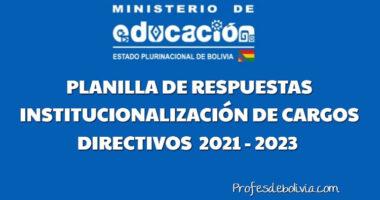 Planilla De Respuestas Examen de Institucionalización De Cargos Directivos 2021 – 2023