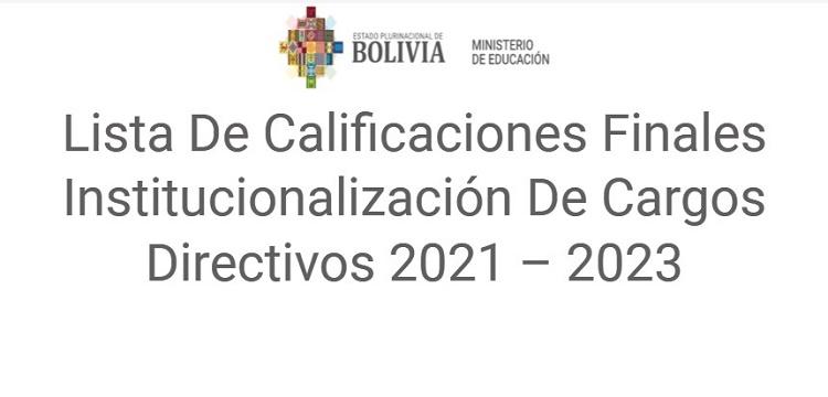 Lista De Calificaciones Finales Institucionalización De Cargos Directivos 2021