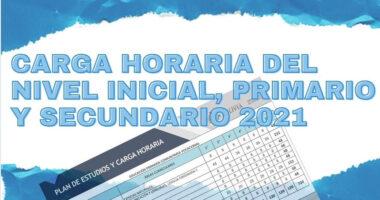 Carga Horaria del Nivel Inicial, Primario y Secundario 2021